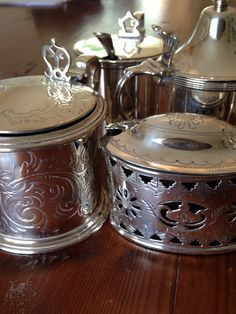 A few of the showroom silver mustard pots #vintage