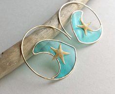 Wave Hoop Earrings Starfish Hoops Real by BellaAnelaJewelry