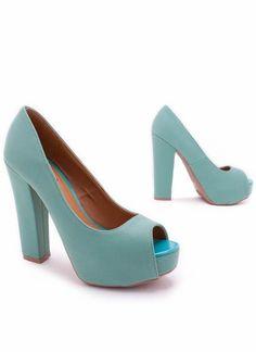 Sea green peep toe heel