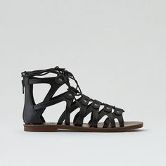 AE Lace-Up Sandal ($26) ❤ liked on Polyvore featuring shoes, sandals, black, black lace up shoes, strap sandals, laced up shoes, monk-strap shoes and wrap around sandals