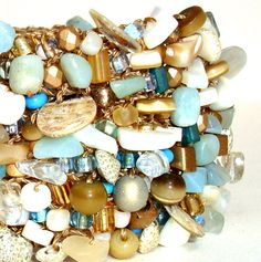 Unique Statement Jewelry Big Cuff - Beach- Glam artisan hand knit with natural sea shell and semi precious stones fresh $128.00