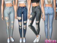 The Sims Resource: 322 Ripped Skinny High Jeans by Sims 4 Dow Sims Mods, Maxis, Sims 4 Tsr, Sims 4 Characters, Sims 4 Toddler, Sims Baby, Sims4 Clothes, Sims 4 Cc Packs, Leila