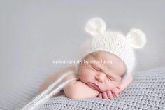 Newborn Mohair Ear bear bonnet-Baby knit by LaBottegaDiViviana