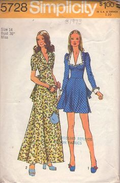 MOMSPatterns Vintage Sewing Patterns - Simplicity 5728 Vintage 70's Sewing Pattern LOVELY Wide Cinched Midriff Brady Mod Flared Skirt Mini Dress, Wing Collar Long Formal Prom Maxi Gown