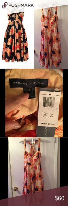 French connection summer dress NWT NWT new with tags French connection vintage style dress  Cotton dress with floral design - ink blue or navy with orange and red Cream color background for sale ( the black stock photo lets you imagine what it looks like on) cream is for sale  wedding dress  flirty dress  with wedge shoes date night dress  with heels work dresses ( with cardigan) with ballet flats French Connection Dresses Midi