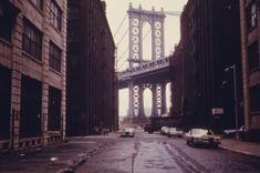NYC 1970s. The Manhattan Bridge as seen from Brooklyn.