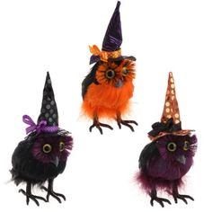 Fluffy Black Feathered Owls with Witches Hats PerfectlyFestive http://www.amazon.com/dp/B008SKSERU/ref=cm_sw_r_pi_dp_pZUpub0VE019C