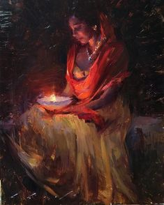 "Inner Glow II -Another figurative painting headed to Gallery 1261 @gallery1261 12""x16"" oil on board. #figurative #oilpainting #indianart #art #paintings #hindu #traditions #artcollectors #artgalleries #artdealer"
