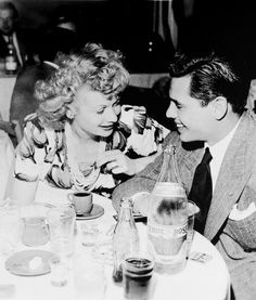 Lucille Ball and Desi Arnaz..being married to a Cuban, Lucy liked her Espresso as well. :)