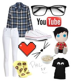 """""""Phil Lester-Amazingphil"""" by theemowithin on Polyvore featuring Barbour, Forever 21, Converse and Anya Hindmarch"""