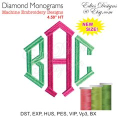 Diamond Monograms Monogram Fonts Embroidery Fonts BX File Digital Download by EdiesDesigns on Etsy