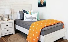 A bedroom featuring twin framed bed. Bed shows our Modern Gray Beddy's with our Point Break ocean themed accessories. Boys Room Decor, Boy Room, Bedroom Decor, Bedroom Ideas, Zip Up Bedding, Gray Bedding, Grey Boys Rooms, Kids Rooms, Beddys Bedding