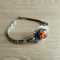 Blazing Amber on Silver Sterling Silver Bracelets, Bracelet Watch, Amber, Chain, Accessories, Necklaces, Ivy, Jewelry Accessories