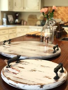 15 Farmhouse Distressed Wood Tray Lazy Susan is part of Diy tray - utm source Copy&utm medium ListingManager&utm campaign Share&utm term so lmsm&share time 1548454489752 Diy Wood Stain, Wood Wood, Rustic Wood, Wood Mantle, Rustic Western Decor, Salvaged Wood, Bois Diy, Diy Furniture, Woodworking Furniture