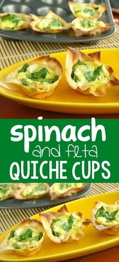 spinach and feta quiche cups :: these crispy won-ton breakfast cups ...