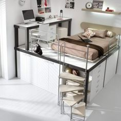 Small bedroom ideas with queen bed for girls kids loft beds from queen loft bed girls Bunk Bed With Desk, Cool Bunk Beds, Lofted Beds, Desk Bed, Dresser Bed, Table Desk, Loft Spaces, Small Spaces, Small Rooms