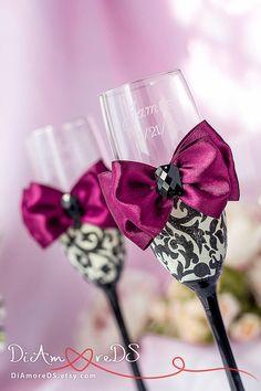 Wedding burgundy champagne purple for 2019 Wedding Toasting Glasses, Wedding Champagne Flutes, Toasting Flutes, Champagne Glasses, Shot Glasses, Bride And Groom Glasses, Peony Bouquet Wedding, Damask Wedding, Burgundy Wedding