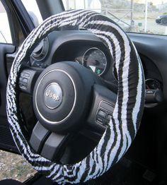 Zebra Print Steering Wheel Cover on Etsy, $12.00