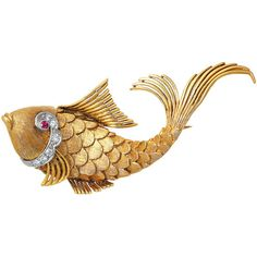 Pre-owned Ruby Diamond Gold Fish Brooch ($3,000) ❤ liked on Polyvore featuring jewelry, brooches, brooch, fish, necklaces, pre owned jewelry, gold jewelry, white gold jewelry, diamond jewelry and ruby brooch