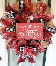 Christmas Wreaths For Front Door, Christmas Mantels, Christmas Ribbon, Christmas Signs, Holiday Wreaths, Merry Christmas, Christmas Decorations, Winter Wreaths, Deco Mesh Wreaths