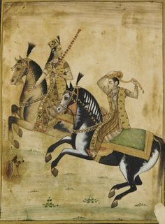 A Prince and princess on horseback. 18th century. Mughal dynasty. Color and gold on paper. India.