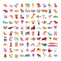 100 vector icons. Animals, birds, fishes and insects large vector icon set. Various isolated colorful images on white background. Can be used as logo. Chihuahua; frog; crab; fox; pelican;