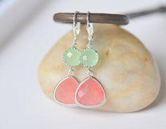 Coral Pink Teardrop and Mint Dangle Earrings in Silver