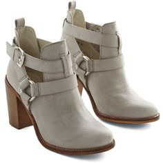ModCloth Urban Steady As a Rock Bootie ($60) ❤ liked on Polyvore featuring shoes, boots, ankle booties, botas, sapatos, boot - bootie, bootie, grey, heeled bootie and buckle ankle boots