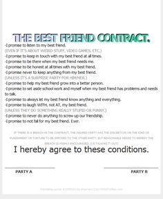THE BEST FRIEND CONTRACT.
