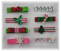 christmas hair clippies, holiday hair bows, baby hair bows, girls hairbows