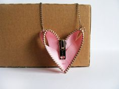 Pink Zipper Necklace  Zipper Jewelry  Heart Zipper by FlosCaeli, $16.40