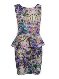 Bargain @ £20! Cameron Tropical Print Peplum Dress