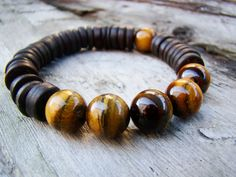 Men's Bracelet Beaded Stretch Bracelet Tribal Tiger by PlayArt, $24.00
