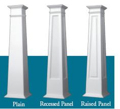 Tapered Craftsman Columns. These are PVC, but can be made out of wood. I'm diggin the one all the way to the left.