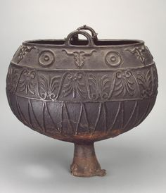 """Cauldron with Three Friezes of Ornament Epoch. Period: Early Iron Age Date: Scythian Culture. 375-325 BC Place of finding: Dnieper Region, near Mikhailovo-Apostolovo Cossack Village Archaeological site: Raskopana Mogila (""""Excavated Grave"""") Barrow Material: bronze Technique: casting Dimensions: h. 47 cm"""
