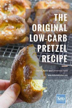 Keto Soft Pretzels L Keto Soft Pretzels Low Carb. The original keto soft pretzels recipe! Made with almond flour this delicious low carb bread is made from mozzarella dough keeping it gluten free! Keto Foods, Ketogenic Recipes, Keto Snacks, Snack Recipes, Lamb Recipes, Keto Meal, Seafood Recipes, Smoothie Recipes, Bread Recipes