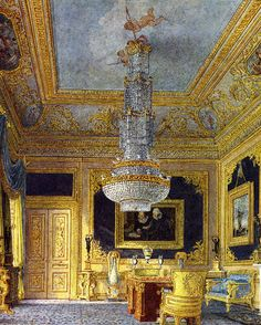 Interior of Carlton House The Blue Velvet room Velvet Room, Blue Velvet, Carlton House, Palace Interior, Regency Era, Regency House, Royal Residence, Interior Rendering, Second Empire