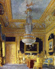 Interior of Carlton House The Blue Velvet room Velvet Room, Blue Velvet, Carlton House, Palace Interior, Gold Interior, Regency Era, Regency House, Royal Residence, Interior Rendering