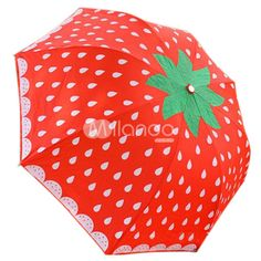 Red Strawberry Pattern Lolita Umbrella found on Polyvore