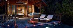 Villingili Resort and Spa Male, Maldives offers spacious and elegant rooms and suites equipped with stylish design and modern amenities. Beach Hotels, Hotels And Resorts, Palawan, Cebu, Luxury Villa, Resort Spa, Sun Lounger, Luxury Homes, Islands