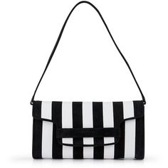 L.K. Bennett Laura Striped Clutch Bag ($350) ❤ liked on Polyvore featuring bags, handbags, clutches, white purse, white handbags, l k bennett handbags, structured handbag and white clutches