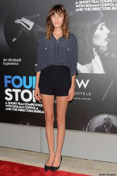 Love Alexa Chung's baggy shirt and shorts combo. Flat pumps are the perfect way to finish off the look.