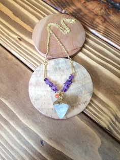 Natural Quartz Crystal and Amethyst Stone Chip Gold Chain Necklace Boho Chic Jewelry by TheHauteBohemian on Etsy