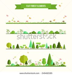 Use for infographics etc.  Trendy and beautiful set of flat forest elements. Include grass, mushrooms, berries, bushes and trees - stock vector.  Shutterstock.com