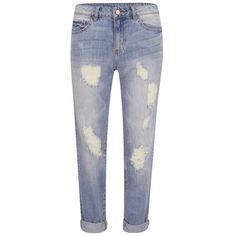 VILA Women's Crime 7/8 Boyfriend Jeans - Light Blue (8.170 HUF) ❤ liked on Polyvore featuring jeans, pants, bottoms, blue, blue jeans, boyfriend fit jeans, light wash distressed boyfriend jeans, light wash boyfriend jeans and light wash ripped boyfriend jeans