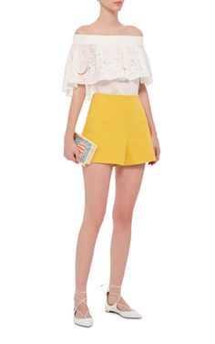 Yellow Cotton Mini Shorts by CACHAREL Now Available on Moda Operandi