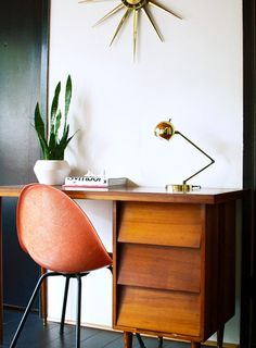 Modern thrifter mid century office desk. LOVE this space, want to copy. Change the chair out to yellow or white though and we've got a deal!