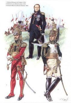 1-Général Pierre David Édouard de Colbert-Chabanais 1815. 2-Général Louis-Michel Letort de Lorville 1815. 3-Général Maurice Etienne Gérard 1815.