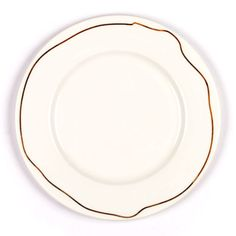 Material: Bone China  Dimensions: 10.5 inches in diameter  This set of four Bone China dinner plates combines formal tableware design with jewelry. Gold bands, a traditional motif, are re-imagined as chains that loosely follow the outline of each plate.