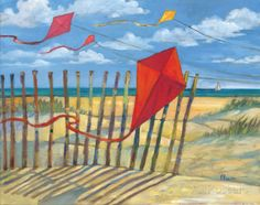 Beach Kites Red Landscape Art Poster Print by Paul Brent, Poster Art, Poster Prints, Posters, Red Wall Art, Red Art, Go Fly A Kite, Kite Flying, Summer Painting, Vintage Poster